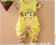The new summer 2014 han edition of cotton children boutique short sleeve T-shirt + pants suit  $10.99