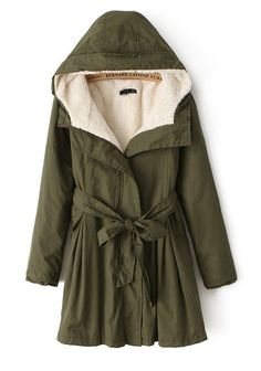 Army Green Belt Pockets Cotton Blend Padded Coat - Outerwears - Tops
