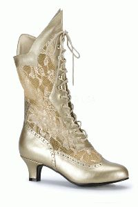 Gold Faux Leather Floral Mesh Victorian Boots