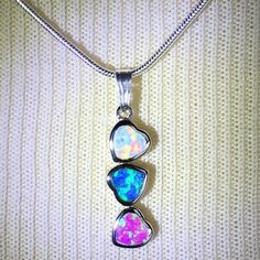 "Sterling Silver Fire Opal Necklace Pink/Blue/White Sterling Silver Fire Opal Necklace Pink/Blue/White~New~Sterling Silver 18"" Stamped Chain~Three Hearts~ Fire Opal/Sterling Silver Jewelry Necklaces"
