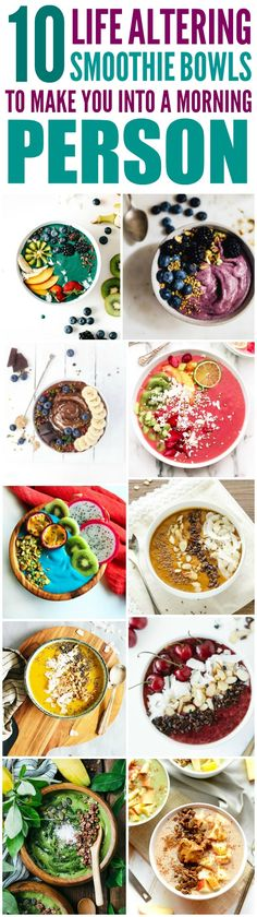 These 10 Super Healthy and delicious smoothie bowls are THE BEST! I'm so happy I found these AWESOME recipes! Now I have breakfast ideas that'll make my morning so much easier! Definitely pinning!
