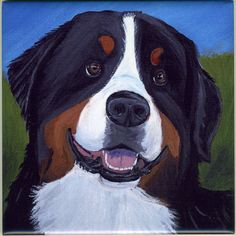 Bernese Mountain Dog Art Tile by Sharon Nummer by caninepainter, $20.00