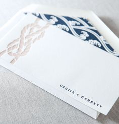 Tiburon nautical letterpress note card by @Dauphine Press in marine blue and malt
