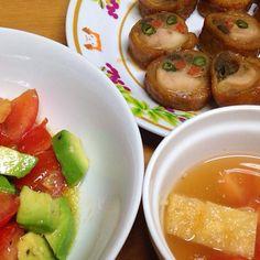 ⚫︎チキンロール ⚫︎トマト、アボカドサラダ ⚫︎トマト、油揚げの冷汁 - 20件のもぐもぐ - 2014.08.25 by amagishinjyu