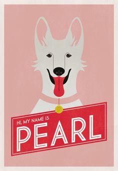 White German Shepherd Print  Dog Poster Illustration Series by Betsy Widmark Holt  coroflot.com/heavens2betsy  dog poster, dog illustration, german shepherd, GSD, cute dog, white dog, pink, red, art,