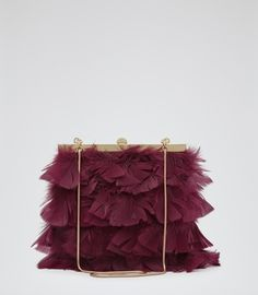 Womens Burgundy Feather Embellished Clutch - Reiss Grayson