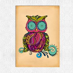 Owl  11 x 14 Print by GreenGirlCanvas on Etsy, $25.00