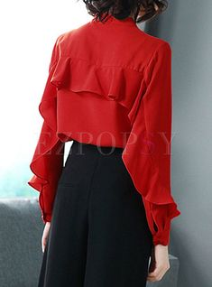 Shop Red Tied Long Sleeve Flouncing Blouse at EZPOPSY. Red Fashion, Fashion Outfits, Fashion Trends, Fashion Photography Inspiration, Silk Ties, Fashion Addict, Style Guides, Fashion Online, What To Wear