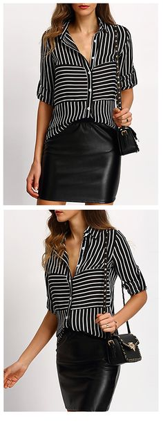 Casual stripped classic - stripped black and white blouse at $12.99.