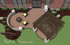 The Concrete Paver Patio Design with Pergola features large circular areas for outdoor dining and sitting around the fire pit. Layouts and material list.