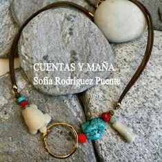 Gargantilla mezcla de cuentas de coral, turquesa y zamak #cuentasymaña #handmade #collares