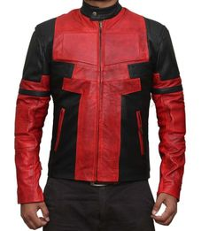 Ryan Reynolds Deadpool Red and Black Movie Leather Jacket in Clothes, Shoes & Accessories, Men's Clothing, Coats & Jackets   eBay