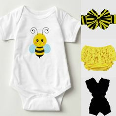 Lil' Bee Bee Onesie Yellow Baby Bloomer Bee by soprettybaby Baby Bee Costume, Bee Bee, Baby Girl Accessories, Baby Bloomers, Baby Yellow, Create Your Own, Onesies, Costumes, Creative