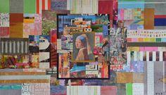Wouter van Donselaar. Meisje met de parel. Kleurrijk abstract modern mixed media schilderij, opgebouwd uit diverse lagen (dekkend en transparant) en met verschillende materialen. 70 x 120 cm Gemengde technieken op dubbeldik linnen doek.
