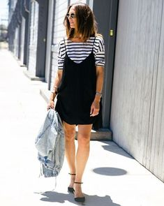 Striped or heather grey tees are my go-tos under strappy dresses: they look fab AND sort of disappear