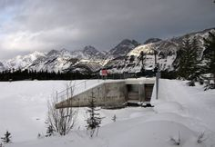 The view from the Penstock Loop Snowshoe Trail on the approach to the dam and Canyon Trail in Kananaskis Country, Alberta, Canada.