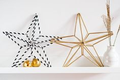 Advent star made from straws. Christmas Snowflakes, Christmas Star, Modern Christmas, Diy Christmas Ornaments, Holiday Crafts, Christmas Decorations, Straw Crafts, Diy Straw, Gnome Ornaments