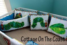 Pillows...Made With Very Hungry Caterpillar Fabric (Set of 4) --Made to Order-- via Etsy