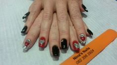 Red and black Ninas Nails, Valentine Special, Class Ring, Red, Beauty, Black, Black People