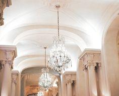 Tea salon in Plaza Athenée, Paris. Loving the chandeliers! Chandeliers, Nyc, Ceiling Lights, Paris, Blog, Decor, Ballet Flats, Transitional Chandeliers, Montmartre Paris