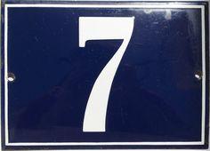 VINTAGE FRENCH/PORTUGUESE BLUE ENAMEL PORCELAIN DOOR HOUSE NUMBER SIGN PLATE 7