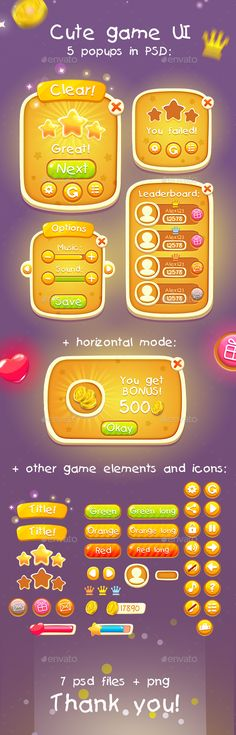 Casual Cute Game UI Asset PSD. Download here: https://graphicriver.net/item/casual-cute-game-ui-asset/14038697?ref=ksioks