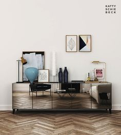 Gorgeous mirrored sideboard / buffet -- Modern Barcelona Apartment By Katty Schiebeck #homedecor #interiordesign #woodfloors
