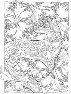 Creative Haven Fanciful Foxes Coloring Book Welcome to Dover Publications Dover Coloring Pages, Fox Coloring Page, Cute Coloring Pages, Doodle Coloring, Animal Coloring Pages, Mandala Coloring, Coloring For Kids, Printable Coloring Pages, Adult Coloring Pages
