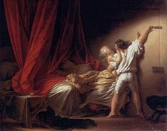 The Bolt (1784) by Jean-Honorè Fragonard  I love this painting because it's a lot more than a woman half-heartedly fighting off the the man bolting the door. The knocked-over chair (legs in the air - erotic symbolism), the apple on the table (Eve's temptation) and most of the painting is of the bed.