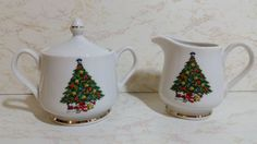 VINTAGE COLLECTIBLE ACTION CHRISTMAS CREAM & SUGAR WITH CHRISTMAS TREE PICTURE  #ACTION