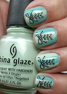China Glaze For Audrey, Re-Fresh Mint and Fairy Dust. Stamped with Konad M7 and special polish in black.