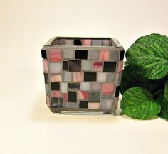 Stained glass mosaic votive candle holder pink gray black via Etsy