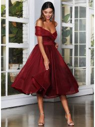 A beautiful midi length dress by Jadore Evening JX4003. An off shoulder style featuring a flared pleated skirt. Ball Gown Dresses, Bridal Dresses, Glam Dresses, Bridesmaid Dresses, White Runway, Off Shoulder Fashion, Lace Midi Dress, Holiday Dresses, Homecoming Dresses