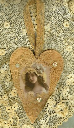 Vintage Lace Collage Hanging Heart