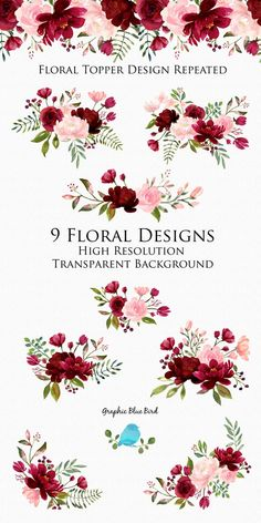 Blush and Burgundy Flowers Watercolor Clipart Collection, Burgundy Wedding, Floral Designs Hand Painted Flowers for DIY Wedding Invitations Burgundy Flowers, Blush Flowers, Deep Burgundy, Burgundy Wine, Floral Flowers, Colorful Flowers, Unique Wedding Invitations, Bridal Shower Invitations, Burgundy Wedding