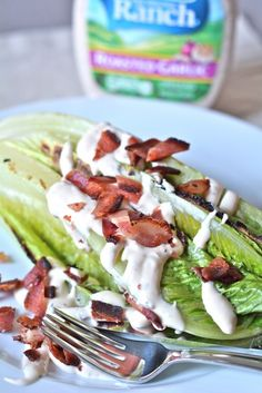 Grilled Romaine Salad with Roasted Garlic Ranch