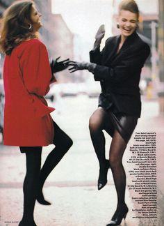 "Linda Evangelista & Paulina Porizkova ""Paris Seduction"" Vogue UK 1987 by Arthur Elgort"