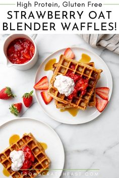 You're not going to believe how easy it is to whip up this strawberry oat waffles recipe! The high protein, gluten free waffles are made with just rolled oats, eggs and cottage cheese (the secret ingredient), and the batter comes together in minutes in the blender. Gluten Free Waffles, Gluten Free Recipes For Breakfast, Gluten Free Breakfasts, Vegetarian Breakfast, Breakfast Dishes, Breakfast Ideas, High Protein Waffle Recipe, Waffle Recipes, Diet Recipes