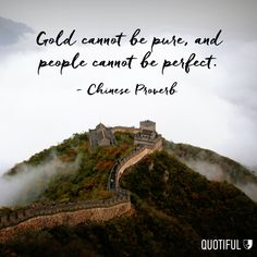 """Gold cannot be pure, and people cannot be perfect."" - Chinese Proverb"