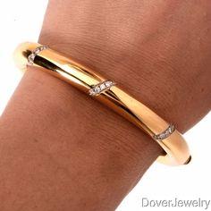 Vintage Diamond 18K Gold Bangle Bracelet 44.7 Grams