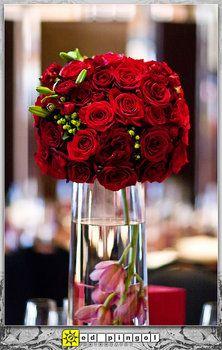 Wedding, Flowers, Red, Centerpiece