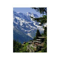 Alpine Railway, Murren, Jungfrau Region, Bernese Oberland, Swiss Alps,... ($40) ❤ liked on Polyvore featuring home, home decor, wall art, artists, photography posters, photographic wall art and photography wall art
