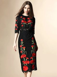 Shop for high quality Embroidery Patch Lace Slim Dress online at cheap prices and discover fashion at Ezpopsy.com