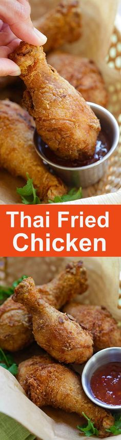 Thai Fried Chicken – the BEST fried chicken recipe ever, marinated with cilantro, garlic and Asian seasonings. Crispy, moist and so good. Thai Recipes, Turkey Recipes, Asian Recipes, Cooking Recipes, Asian Chicken Recipes, Best Fried Chicken Recipe, Roasted Chicken, Chinese Fried Chicken, Asian Seasoning