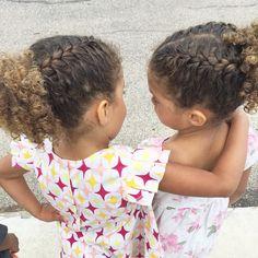 Biracial hair Mixed children Natural curls. Braids French braids Twin girls Www.thewildbees.com
