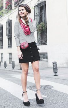 Black skirt and red bandana.