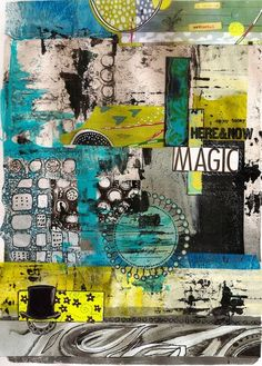Just another journal play. I started with a Gelli print and then begun collaging it with other Gelli printed papers and some digital ones by Traci Bautista, Nancy Baumiller and Teesha Moore A few doodles, a bit of paint and it's done!