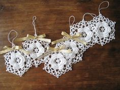 Crochet Ornaments - White Snowflake Flower Home Decor.
