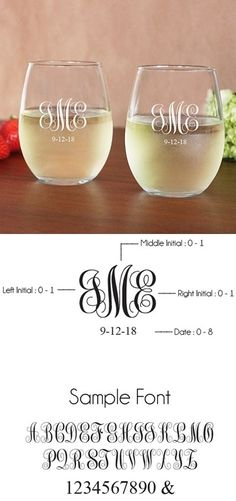 View and Purchase Engraved Monogram 15 oz. Toasting Stemless Wine Glasses (Set of from Party Favor Source Monogram Wine Glasses, Monogrammed Glasses, Stemless Wine Glasses, Monogram Cups, Personalized Wine Glasses, Wine Glass Favors, Glass Bottle Crafts, Painted Wine Bottles, Painted Wine Glasses