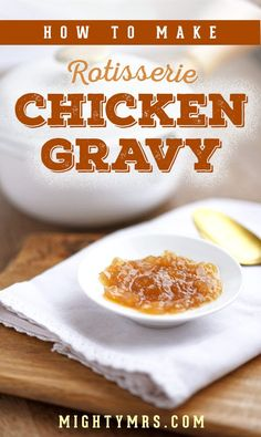 How to Make Rotisserie Chicken Gravy - Did you know you can make an awesome homemade gravy using the drippings from your rotisserie chicken? It's easy to do. Learn how! Quick Dinner Recipes, Side Dish Recipes, Fall Recipes, New Recipes, Favorite Recipes, Thanksgiving Recipes, Yummy Recipes, Salsa Salad Dressing Recipe, Sauce Recipes